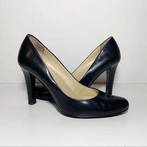 Ralph Lauren Black Leather Round Toe Pumps